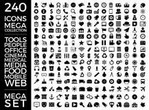 Insieme delle icone, pacchetto universale di qualità, grande progettazione di vettore della raccolta dell'icona Fotografie Stock