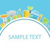 Insieme delle icone per gli strumenti di pulizia Modello per testo Personale di pulizia della Camera Stile piano di progettazione Immagini Stock