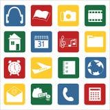 Insieme delle icone per i dispositivi mobili Fotografie Stock