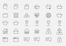 Insieme delle icone per il deposito online illustrazione di stock