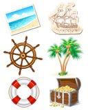 Insieme delle icone per il viaggio per mare Fotografia Stock Libera da Diritti