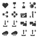 Insieme delle icone per la trasmissione dei dati, lo stoccaggio e la configurazione di tipo aperto e chiuso Vettore isolato fotografie stock libere da diritti
