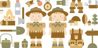 Insieme delle icone piane con gli esploratori Immagine Stock