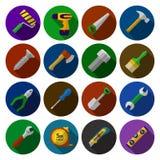 Insieme delle icone piane con gli strumenti del lavoro del giocattolo nella progettazione piana Fotografia Stock