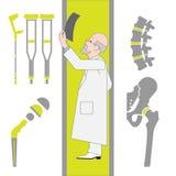 Insieme delle icone piane da chirurgia e da ortopedia Fotografia Stock Libera da Diritti