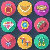 Insieme delle icone piane dei gioielli Immagine Stock