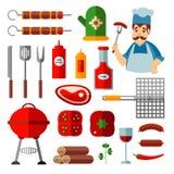 Insieme delle icone piane del bbq, oggetti del barbecue, cuoco Fotografia Stock