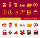 Insieme delle icone piane del cinema per online Immagine Stock