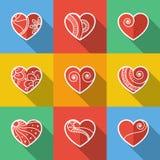 Insieme delle icone piane del cuore Immagini Stock Libere da Diritti