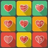 Insieme delle icone piane del cuore Immagini Stock