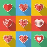 Insieme delle icone piane del cuore Fotografia Stock