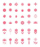 Insieme delle icone piane del fiore dell'icona in siluetta isolata su bianco royalty illustrazione gratis
