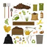 Insieme delle icone piane del fumetto Tema organico della composta Strumenti di giardino, scatola di legno, terra, immondizia del fotografia stock