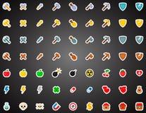 Insieme delle icone piane del gioco nello stile del fumetto Fotografie Stock Libere da Diritti