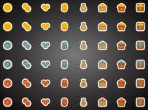 Insieme delle icone piane del gioco nello stile del fumetto Fotografia Stock Libera da Diritti