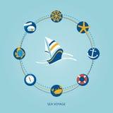 Insieme delle icone piane del mare Immagine Stock