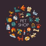 Insieme delle icone piane del negozio di animali di progettazione royalty illustrazione gratis