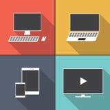 Insieme delle icone piane dell'apparecchio elettronico con ombra lunga Fotografia Stock