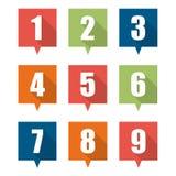 Insieme delle icone piane dell'indicatore del perno Immagine Stock