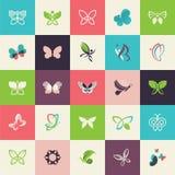 Insieme delle icone piane della farfalla di progettazione Fotografie Stock Libere da Diritti
