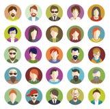 Insieme delle icone piane della gente illustrazione di stock