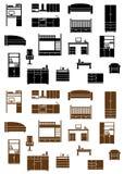 Insieme delle icone piane della mobilia Fotografia Stock