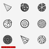 Insieme delle icone piane della pizza Immagine Stock