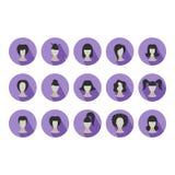 Insieme delle icone piane delle acconciature per la donna Fotografia Stock Libera da Diritti