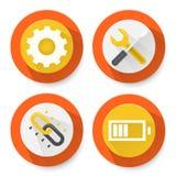 Insieme delle icone piane delle regolazioni Fotografie Stock Libere da Diritti