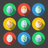 Insieme delle icone piane delle uova di Pasqua Fotografia Stock
