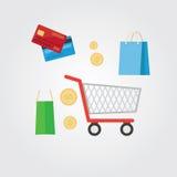 Insieme delle icone piane di acquisto di concetto di progetto illustrazione di stock