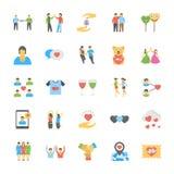 Insieme delle icone piane di amicizia Fotografia Stock Libera da Diritti
