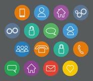 Insieme delle icone piane di base del profilo di progettazione Immagine Stock