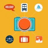 Insieme delle icone piane di concetto di progetto per la festa ed il viaggio Fotografia Stock