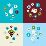Insieme delle icone piane di concetto di progetto per le bevande Immagini Stock Libere da Diritti