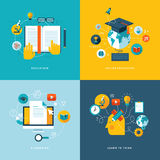 Insieme delle icone piane di concetto per istruzione Fotografia Stock
