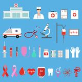 Insieme delle icone piane di concetto di progetto per medicina su un fondo blu Immagini Stock