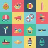Insieme delle icone piane di estate Immagine Stock Libera da Diritti