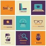 Insieme delle icone piane di istruzione Immagine Stock Libera da Diritti