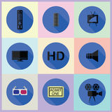 Insieme delle icone piane di media Fotografia Stock Libera da Diritti