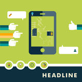 Insieme delle icone piane di progettazione per lo smartphone illustrazione vettoriale