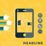 Insieme delle icone piane di progettazione per lo smartphone illustrazione di stock
