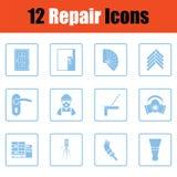 Insieme delle icone piane di riparazione Fotografia Stock Libera da Diritti