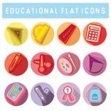 Insieme delle icone piane di stile con i rifornimenti di scuola Fotografia Stock Libera da Diritti