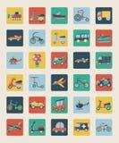 Insieme delle icone piane di trasporto Fotografia Stock Libera da Diritti