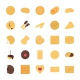 Insieme delle icone piane di vettore dei biscotti Fotografie Stock