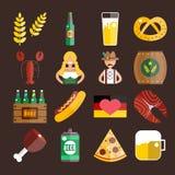 Insieme delle icone piane di vettore di Oktoberfest Birra della bottiglia Fotografie Stock