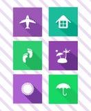 Insieme delle icone piane di viaggio Fotografia Stock Libera da Diritti