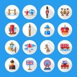 Insieme delle icone piane di viaggio dell'Inghilterra di progettazione Immagini Stock Libere da Diritti