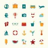Insieme delle icone piane di viaggio di stile Immagini Stock Libere da Diritti